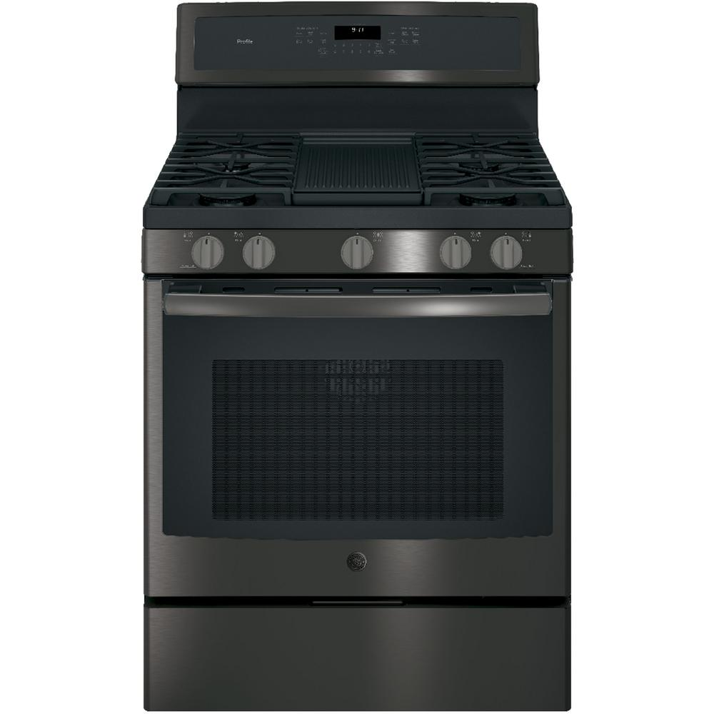 ge profile 30 in 5 6 cu ft gas range with self cleaning convection oven in black stainless. Black Bedroom Furniture Sets. Home Design Ideas