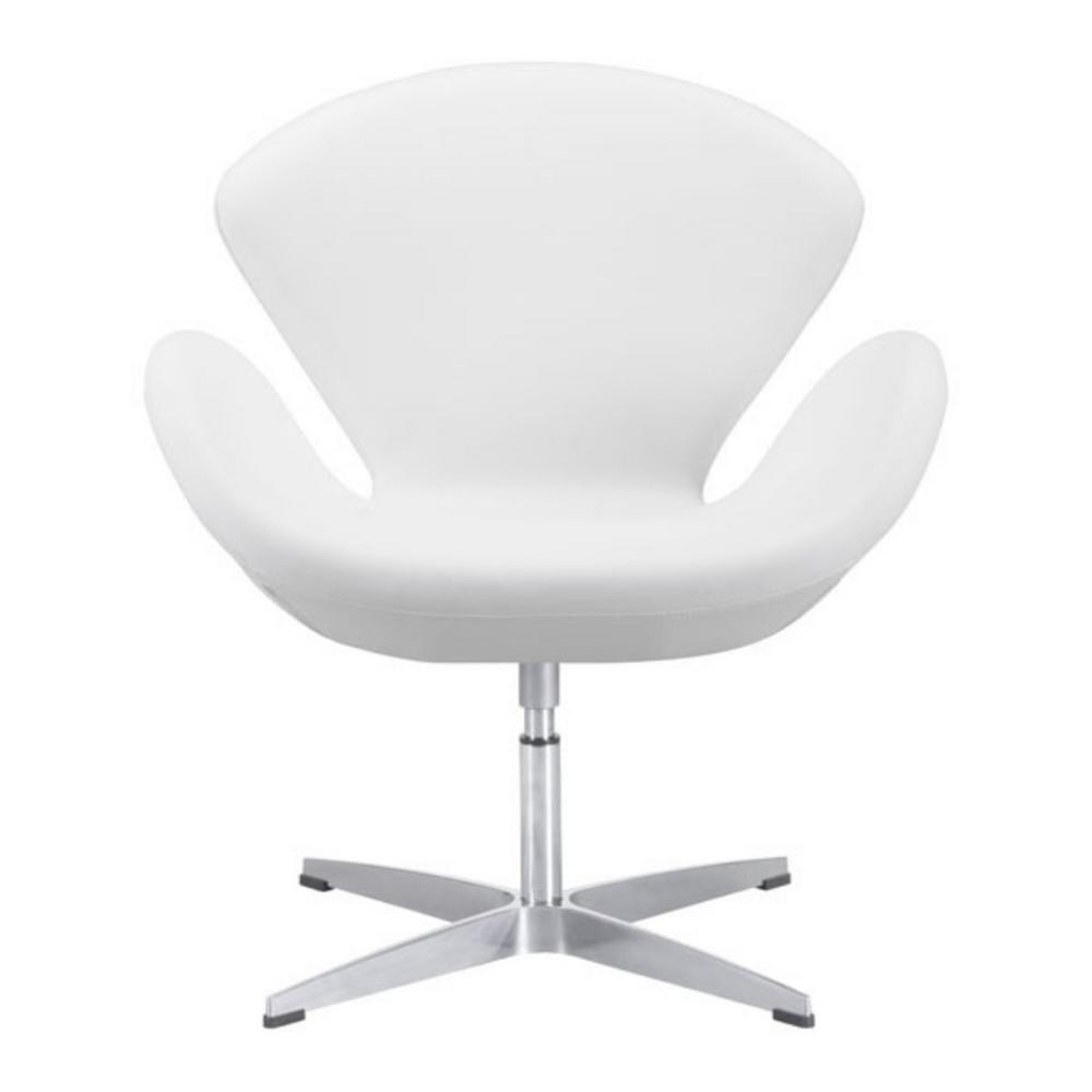 Julia White Leatherette Arm Chair