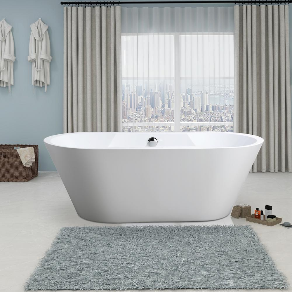 In And Out Beziers vanity art beziers 67 in. acrylic flatbottom freestanding bathtub in white