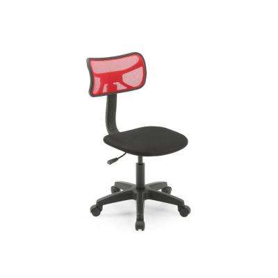 Red Mesh, Mid-Back, Adjustable Height, Swiveling Task Chair with Padded Seat