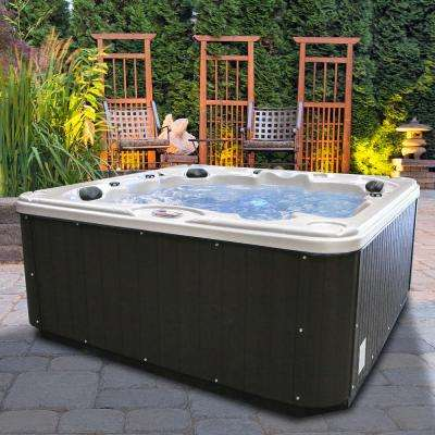 Glory 7-Person 40-Jet Premium Acrylic Lounger Spa Hot Tub with 2 Backlit LED Waterfalls and Steps