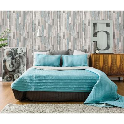 Barn Board Grey Thin Plank Paper Strippable Wallpaper (Covers 56.4 sq. ft.)