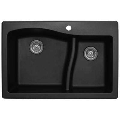 Drop-In Quartz Composite 33 in. 1-Hole 60/40 Double Bowl Kitchen Sink in Black