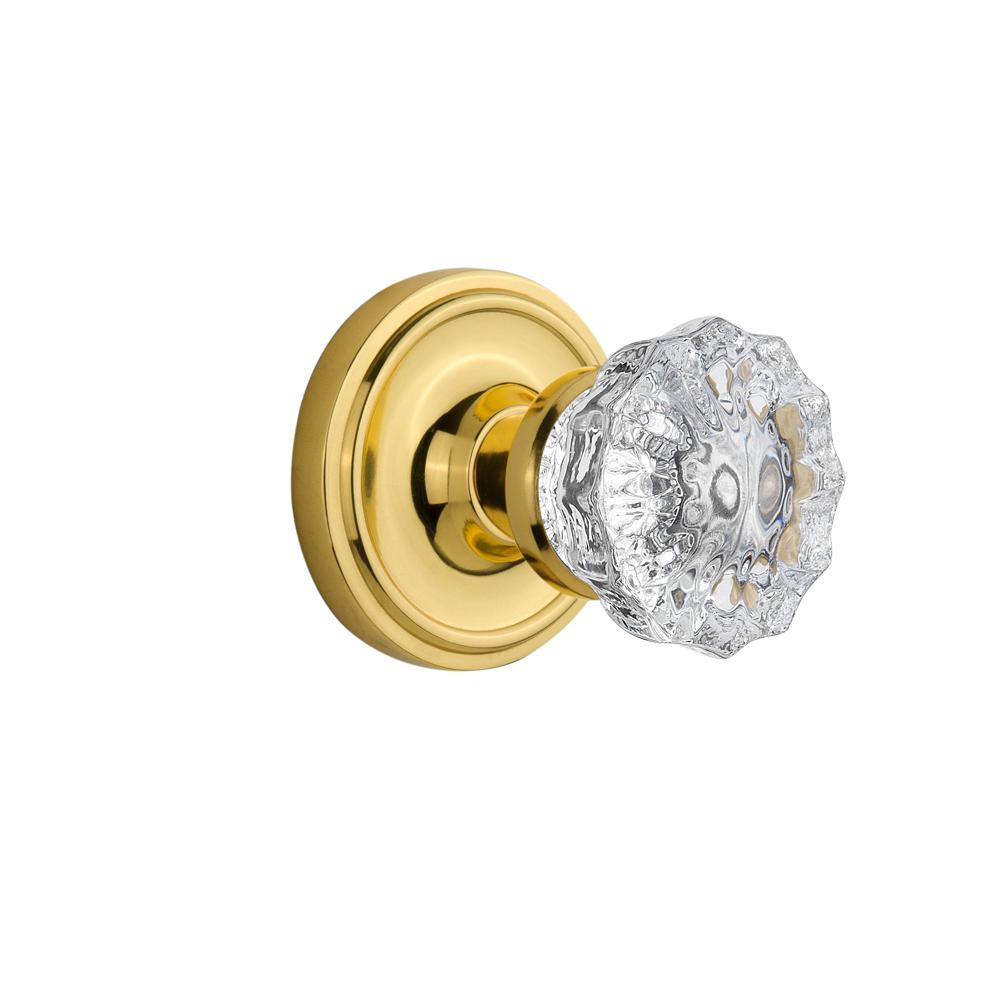 Classic Rosette Interior Mortise Crystal Glass Door Knob in Polished Brass
