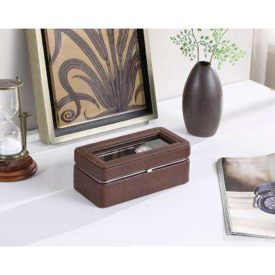 3.5 in. Brown Leather Brown Lining Tempered Glass 4-Watch Display Case