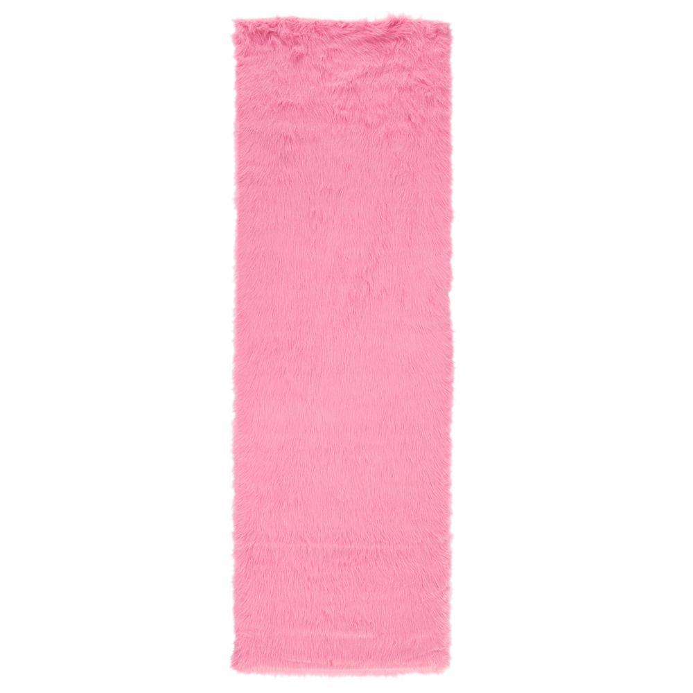 lovely Hot Pink Runner Rug Part - 1: Home Decorators Collection Faux Sheepskin Hot Pink 3 ft. x 8 ft. Runner Rug