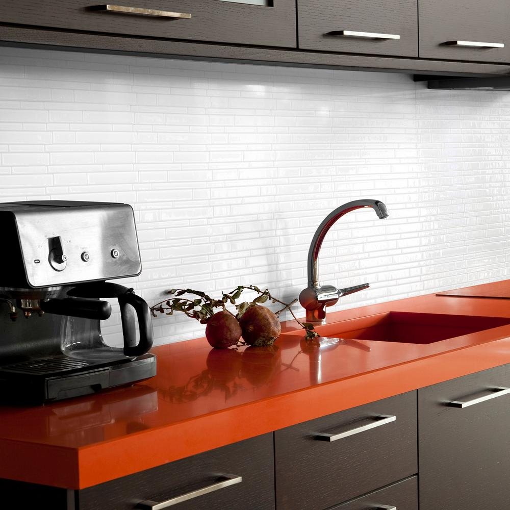 Smart tiles milano blanco in w x in h peel - Decorative wall tiles for kitchen backsplash ...