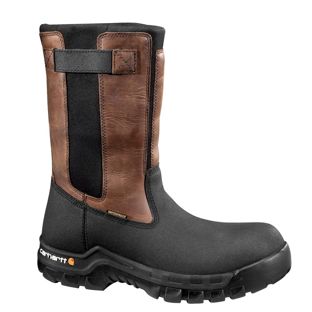 69c29056a768 Carhartt Rugged Flex Men s 14M Blk PU Coated Leather Blk Neoprene with Brn  Trim Waterproof 10 in. Pull-On Composite Toe Work Boot-CMF1391-14M - The  Home ...