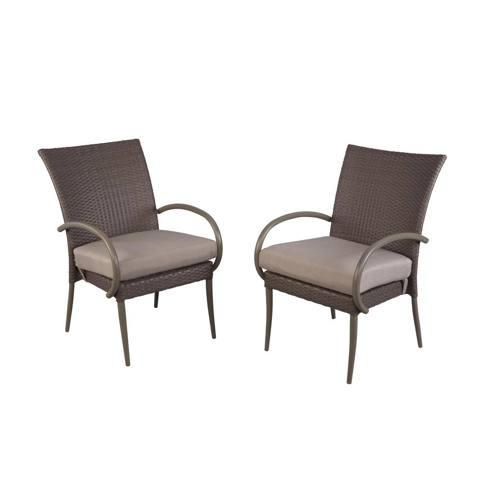 Merveilleux Hampton Bay Posada Patio Dining Arm Chair With Gray Cushion (2 Pack)
