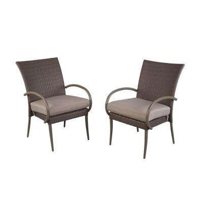Posada Patio Dining Arm Chair with Gray Cushion (2-Pack)