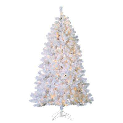 7 ft. Indoor Pre-Lit Flocked White PVC Montana Pine Artificial Christmas Tree with 500 UL Clear Lights