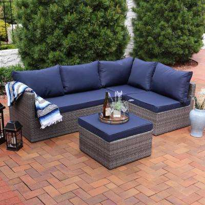 Port Antonio Gray 4-Piece Metal Patio Sectional Seating Set with Dark Blue Cushions