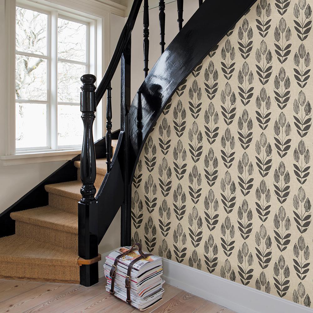 56.4 sq. ft. Garland Black Block Tulip Wallpaper