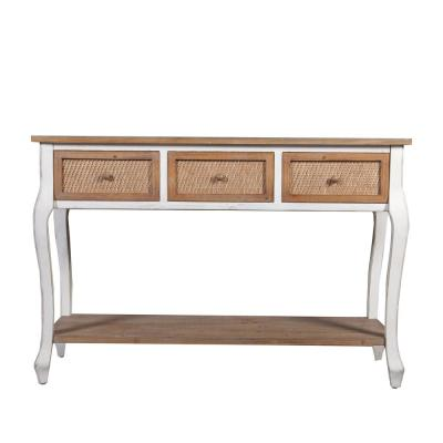 Wood Three Drawer Console Table