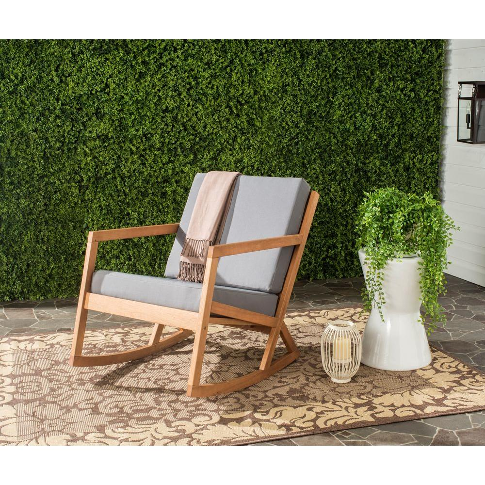 Safavieh Vernon Teak Brown Outdoor Patio Rocking Chair With Tan Cushion Pat7013d The Home Depot