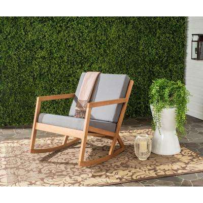 Vernon Teak Brown Outdoor Patio Rocking Chair with Tan Cushion