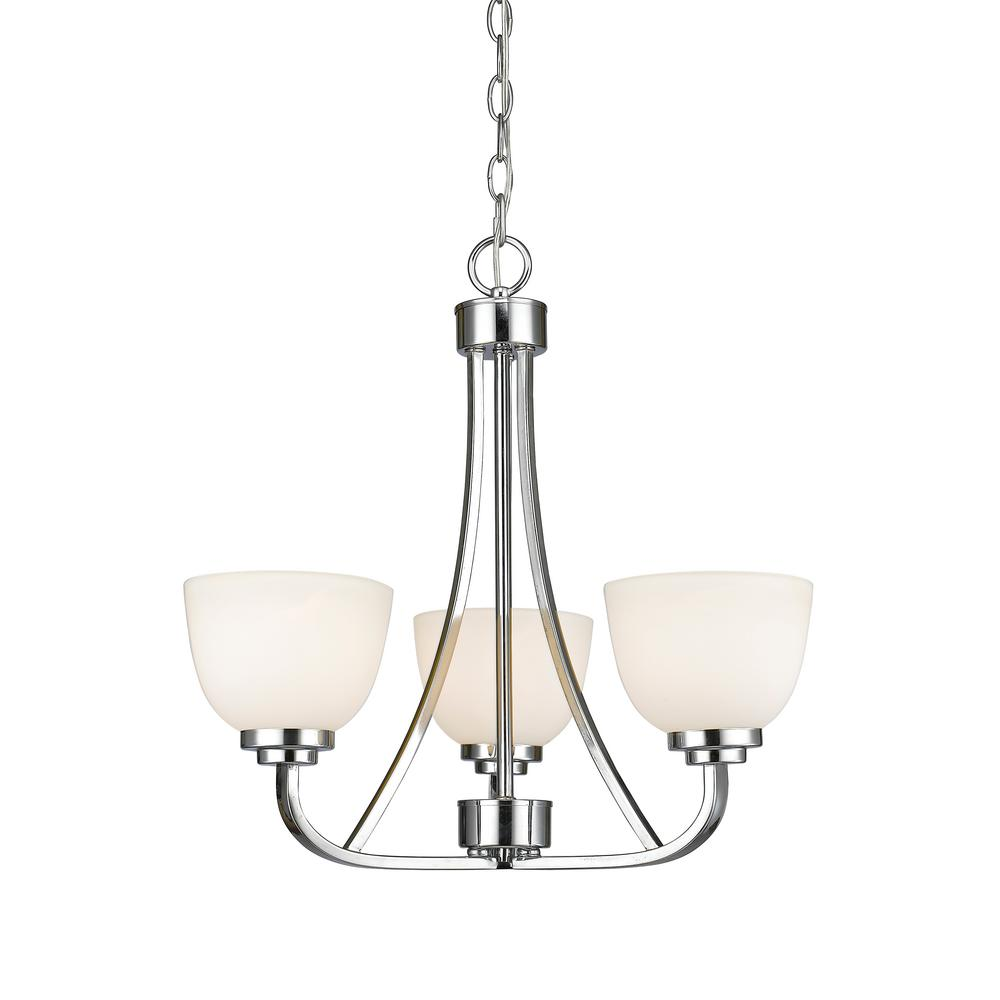 Burren 3-Light Chrome Chandelier with Matte Opal Glass Shade