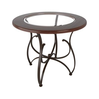 Jericho Warm Stained Wood and Glass Counter Height Dining Table