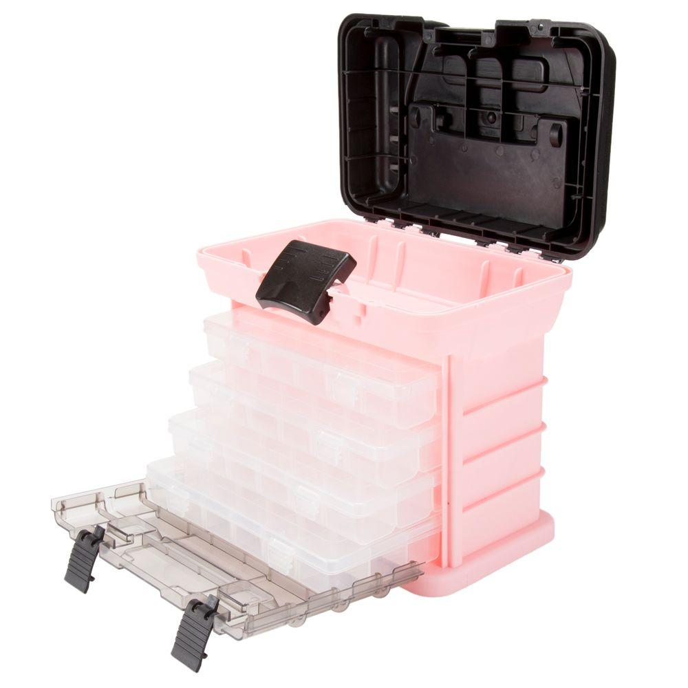 Stalwart Parts And Crafts Rack Style Pink Tool Box With 4 Organizers