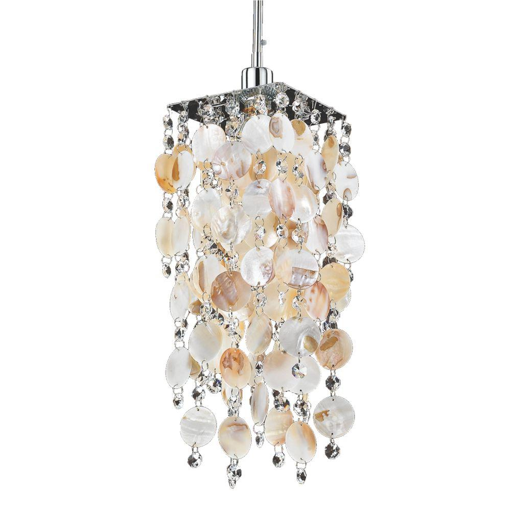 Glow Lighting 1 Light Oyster Shell And Crystal With Chrome Frame Mini Pendant
