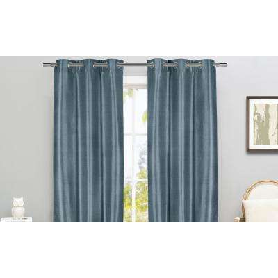 Daenerys 38 in. x 96 in. L Polyester Faux Silk Curtain Panel in Blue (2-Pack)