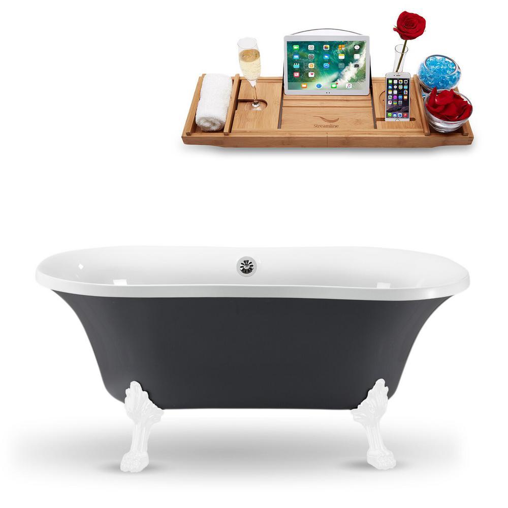 60 in. Acrylic Fiberglass Clawfoot Non-Whirlpool Bathtub in Grey