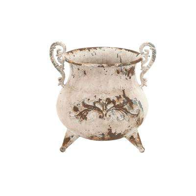 11 in. Distressed Beige Iron Metal Footed Urn Planter Decorative Vase with Double Scrolled Handles