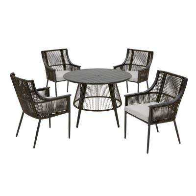 Bayhurst 5-Piece Black Wicker Outdoor Patio Dining Set with CushionGuard Stone Gray Cushions
