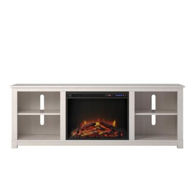 Domingo 58 in. Ivory Pine Particle Board TV Stand Fits TVs Up to 60 in. with Electric Fireplace