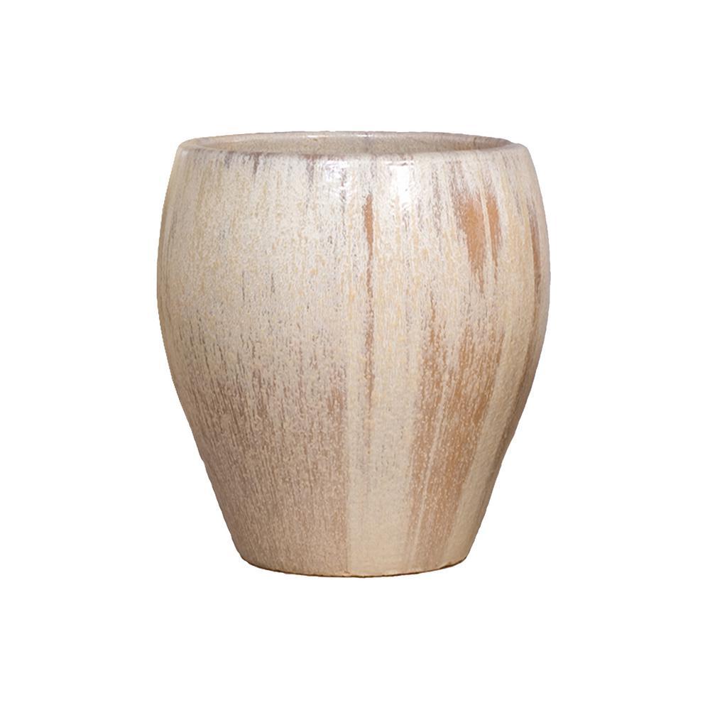 18 in. Dia Round Champagne Ceramic Planter