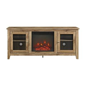 58 in. Wood Media TV Stand Console with Fireplace - Barnwood