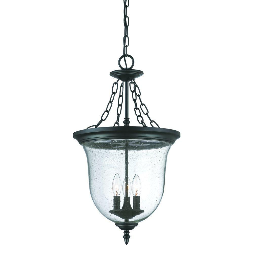 Belle Collection 3-Light Matte Black Outdoor Hanging Lantern Light Fixture