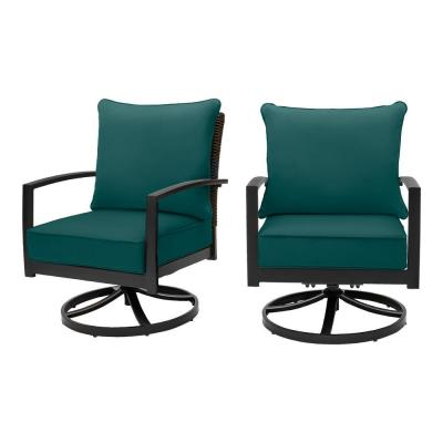 Whitfield Dark Brown Wicker Outdoor Patio Motion Conversation Chair with CushionGuard Malachite Green Cushions (2-Pack)