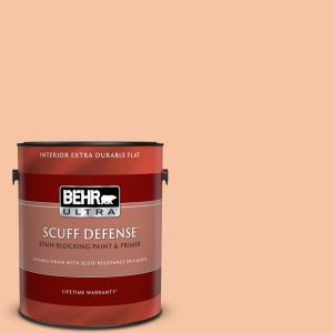 Behr Ultra 1 Gal 240c 3 Peach Damask Extra Durable Flat Interior Paint Primer 172001 The Home Depot