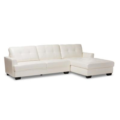 Adalynn 2-Piece White Faux Leather 3-Seater L-Shaped Right-Facing Sectional Sofa with Wood Legs