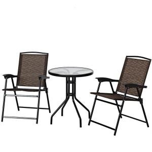 3-Piece Metal Round Patio Garden Outdoor Dining Set