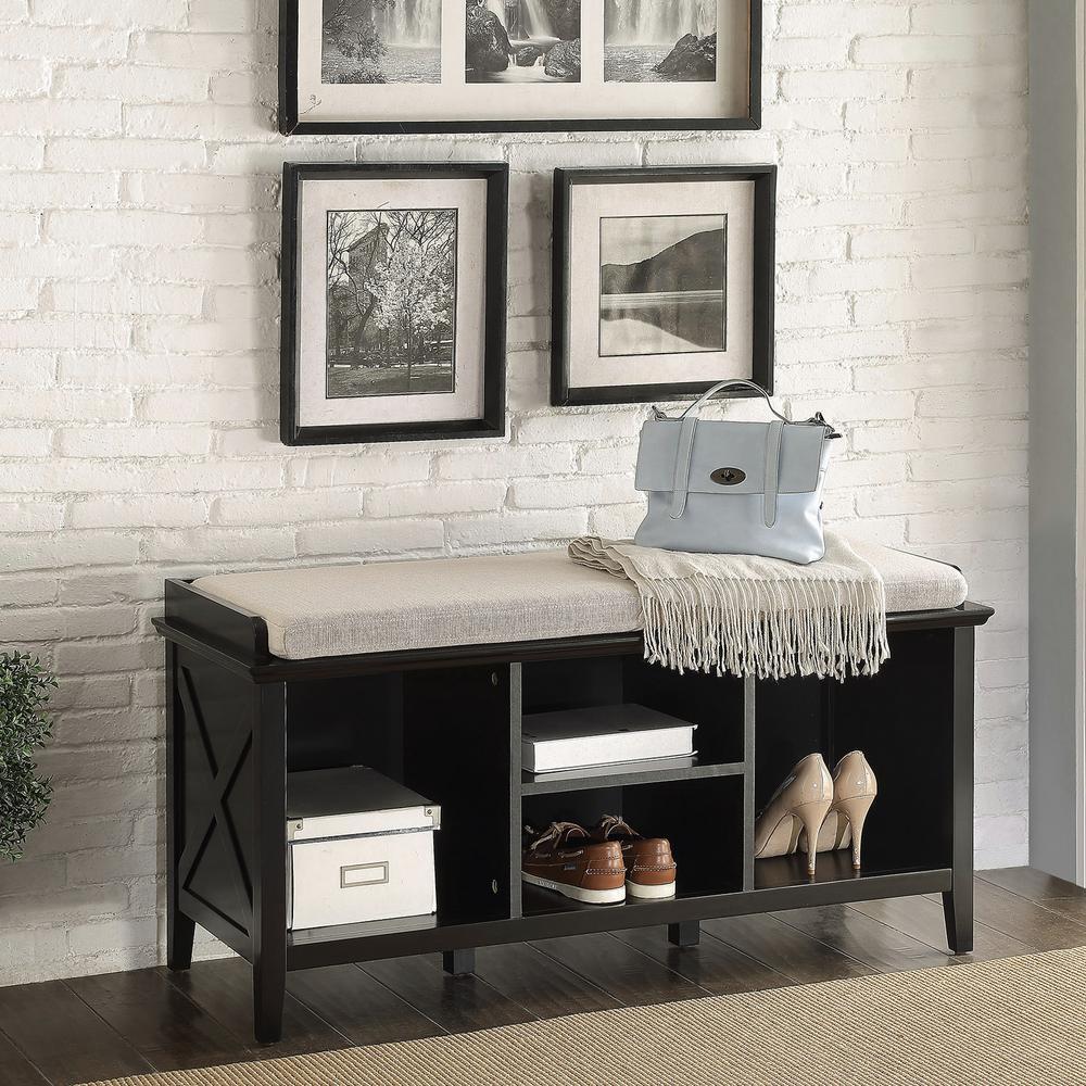 Callie Black Storage Bench by