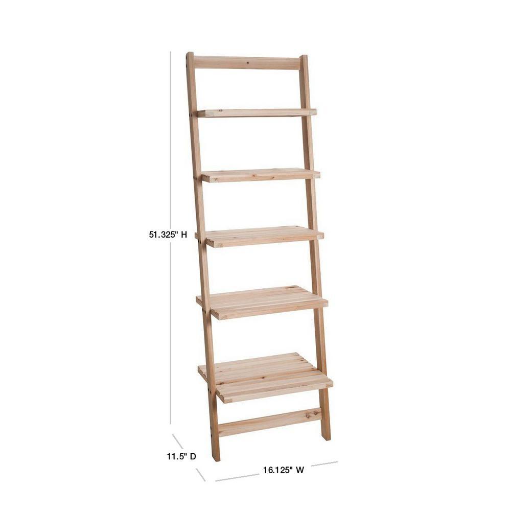 5 Tier Wood Bookcase Display Rack Wall Shelf Ladder Bookshelf Storage Furniture