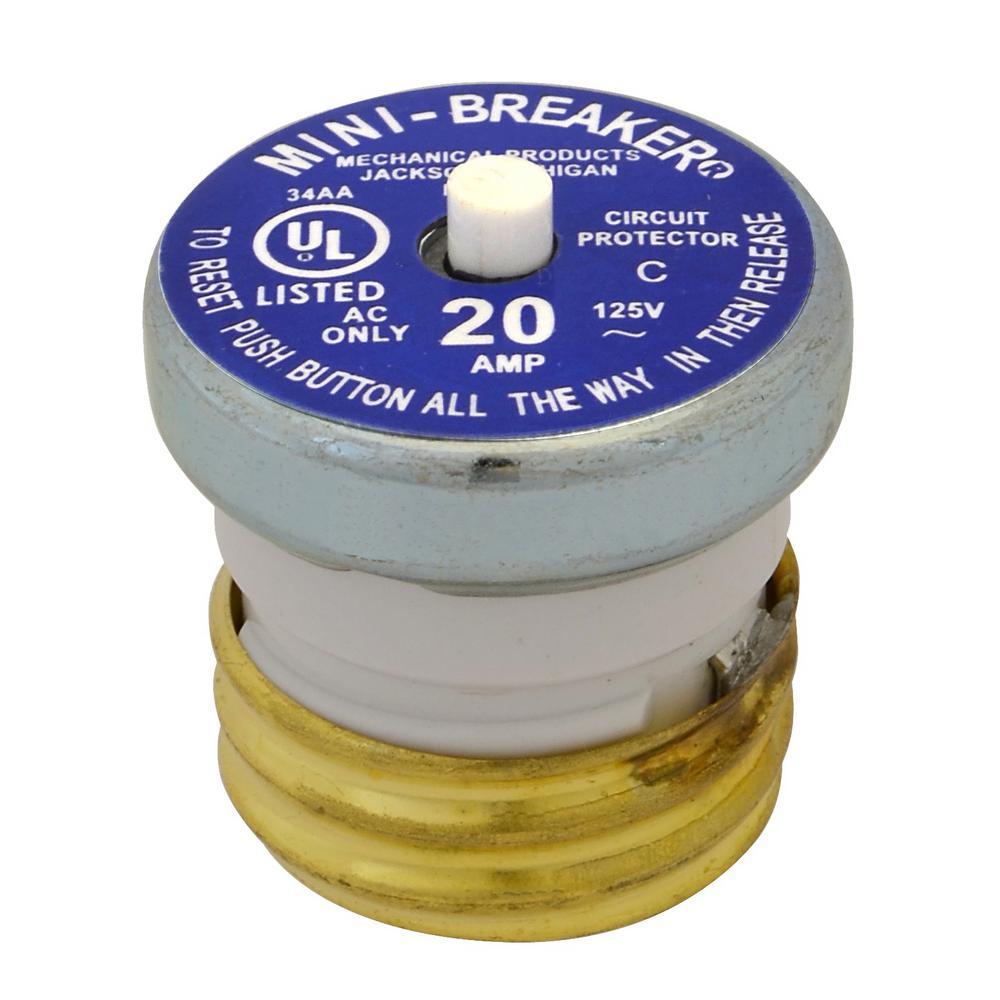 Cooper Bussmann 20 Amp Plug Type Circuit Breaker Bp Mb 20