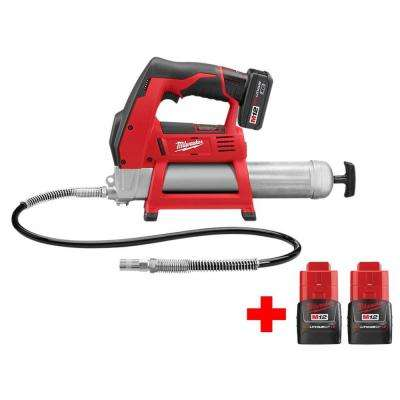 M12 12-Volt Lithium-Ion Cordless Grease Gun Kit With Two Free M12 1.5Ah Batteries