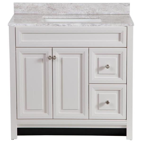 Brinkhill 37 in. W x 22 in. D Bathroom Vanity in Cream with Stone Effect Vanity Top in Winter Mist with White Sink