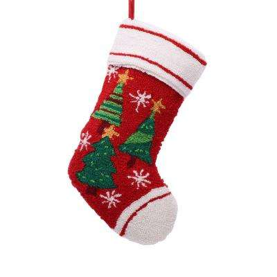 19 in. Polyester/Acrylic Hooked Christmas Stocking with Christmas Tree