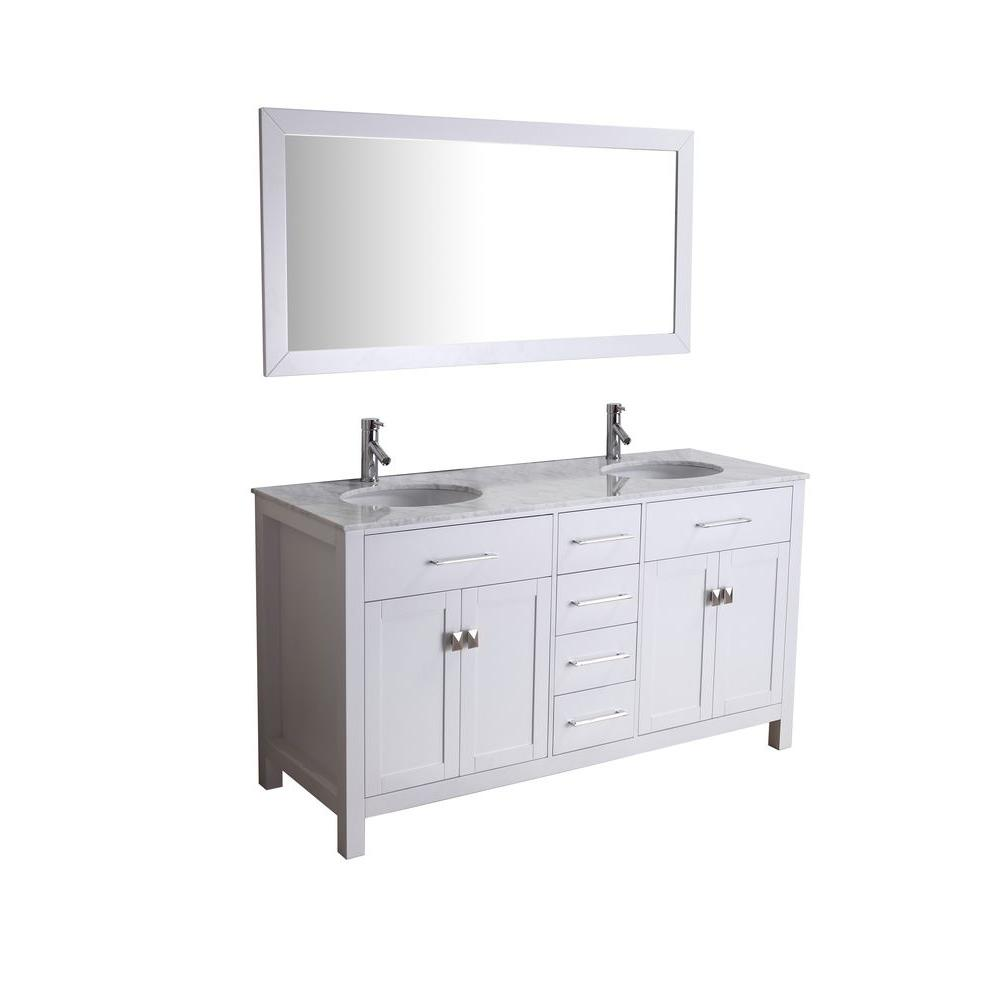 Virtu USA 59-1/10 in. Double Basin Vanity in White with Marble Vanity Top in Italian Carrara White and Framed Mirror-DISCONTINUED