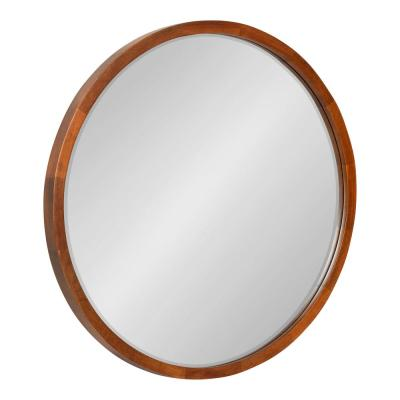 McLean 24 in. x 24 in. Classic Round Framed Walnut Brown Wall Accent Mirror