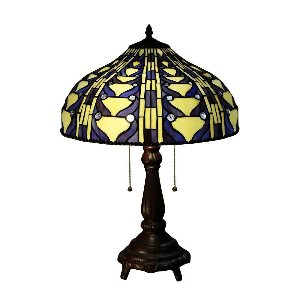 Serena d39italia tiffany style 25 in blue vintage table for Quicker table lamp
