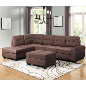 Harper & Bright Designs Brown 3-Piece Sectional Sofa Microfiber with ...