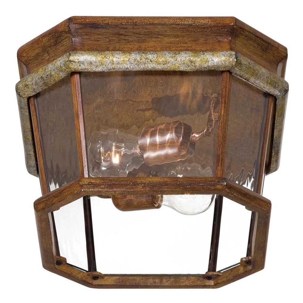 Minka Lavery 2-Light Outdoor Mossoro Walnut Flush-Mount Light