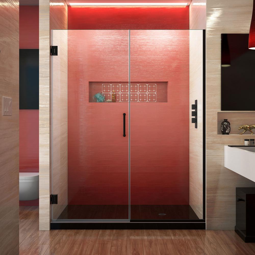 Unidoor Plus 53 to 53.5 in. x 72 in. Frameless Hinged Shower Door in Satin Black