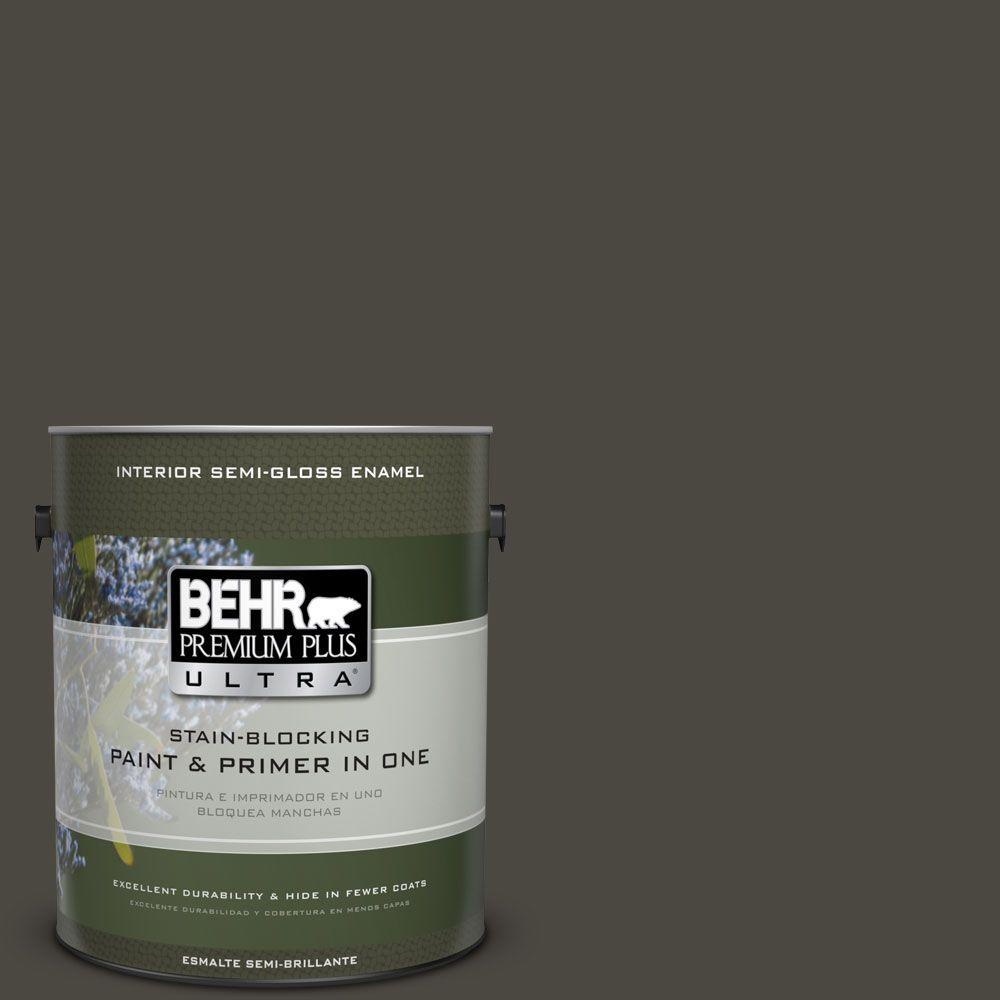 1 gal. #HDC-CL-14A Warm Onyx Semi-Gloss Enamel Interior Paint