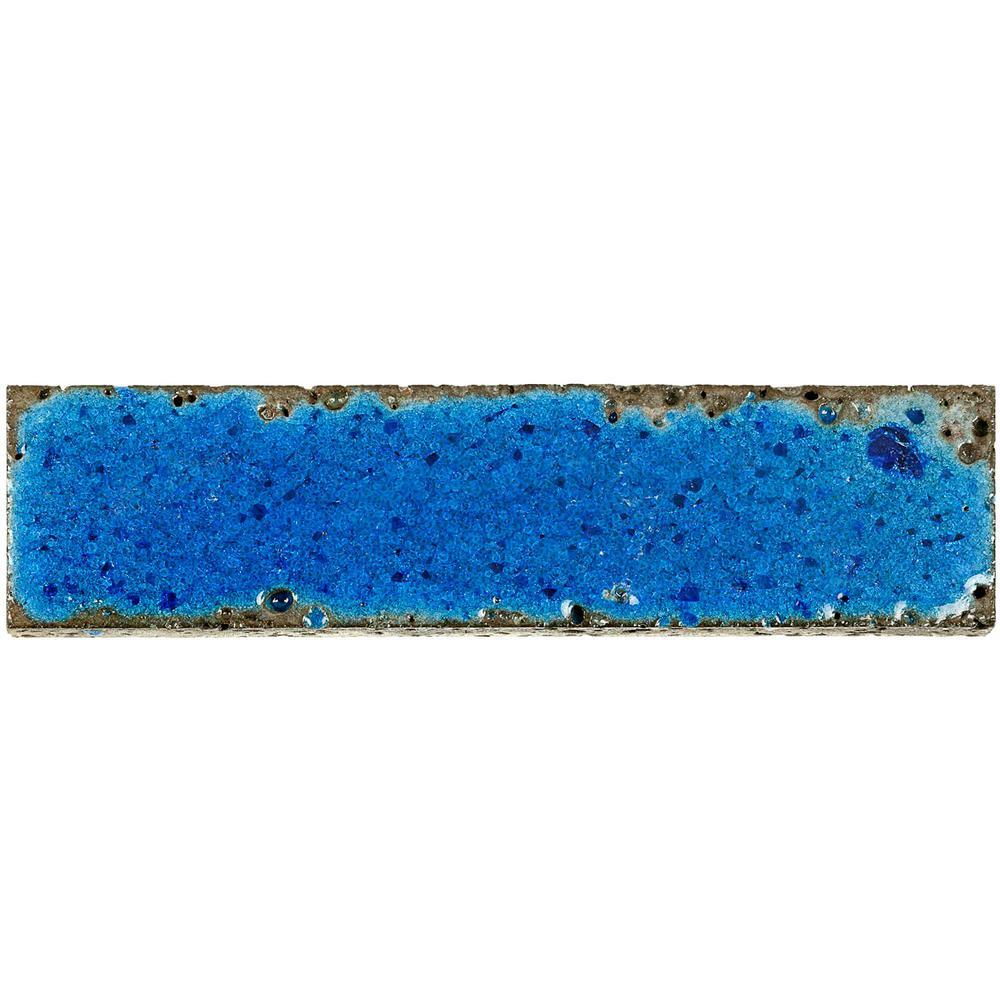 3 in. x 12 in. Magma Stone Green Brick Glazed Subway Tile Sample